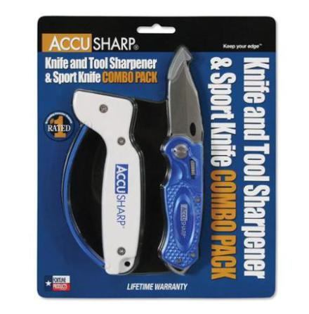 Accusharp Knife and Tool Sharpener & Sport Knife Combo Pack