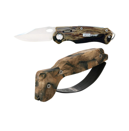 Accusharp Knife and Tool Sharpener & Sport Knife Combo Pack Camo