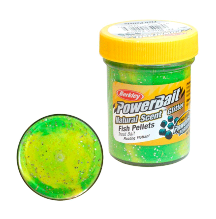 PowerBait Glitter Trout Bait Fluo Green Yellow
