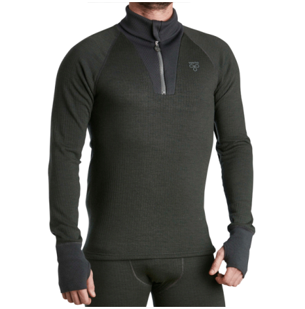 Termo Wool Original 2.0 Roll-Neck m Zip Green Melange