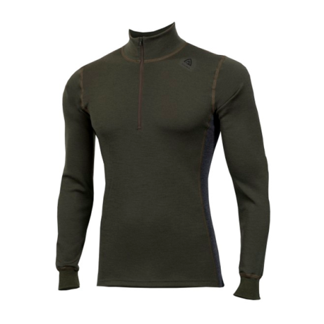 Aclima Warmwool Mockneck W/Zip Olive Night/Marengo
