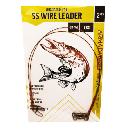 Armada Gäddtafs SS Wire Leader Uncoated 19-trådig 20cm 8kg