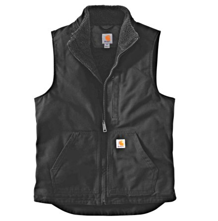 Carhartt Washed Duck Lined Mock Neck Vest Black