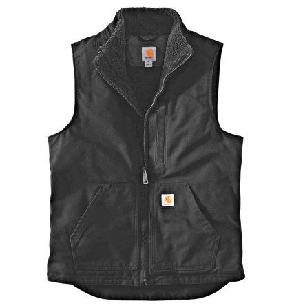 Carhartt Washed Duck Lined Mock Neck Vest Black